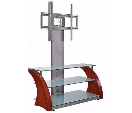 Купить ТВ-тумба Akur, Ракурс ПС 100 см стекло серебристое / декор вишня, серебрянный металлик / вишня