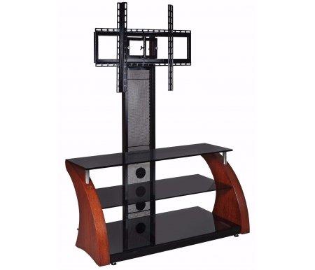 Купить ТВ-тумба Akur, Ракурс ПС 80 см стекло черное / декор вишня, черный лаковый / вишня