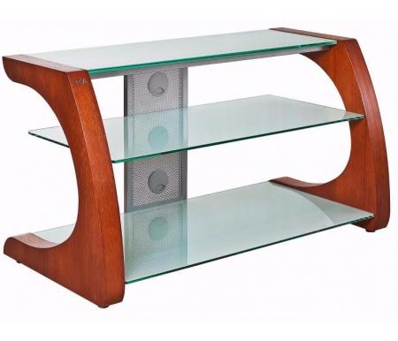 Купить ТВ-тумба Akur, Сиквел 100 см стекло серебристое / декор вишня, серебристый / вишня