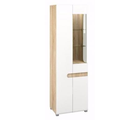 Шкаф с витриной МН-026-01 стекло справаВитрины<br><br><br>Ширина: 60 см<br>Глубина: 42 см<br>Высота: 193 см<br>Материал корпуса: ДСП<br>Цвет корпуса: дуб сонома<br>Материал фасада: МДФ / ПВХ, стекло<br>Цвет фасада: белый полуглянец / прозрачное стекло