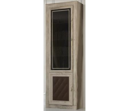 Купить Шкаф-витрина Корвет, для книг №204М МК 51 двухдверный ель 3D / коричневый кожзам, Россия