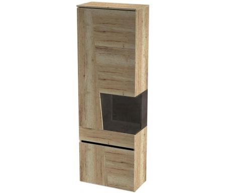 Витрина СБК-мебель Стреза дуб галифакс натуральный / бетон чикаго темно-серый высокая фото