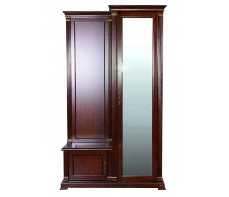 Прихожая 9901Готовые прихожие<br>Шкаф прихожей 9901 комплектуется дверкой с зеркалом во всю площадь, в нижней зоне имеется ящик для обуви. <br>Прихожая выполнена в классическом стиле и имеет благородный цветовой тон.<br> <br>Зеркало, помимо основных функций, поможет визуально расширить пространство.<br><br>Ширина: 119 см<br>Глубина: 43 см<br>Высота: 205 см<br>Материал: массив тополя, МДФ, шпон<br>Цвет: 9901# (темный орех)