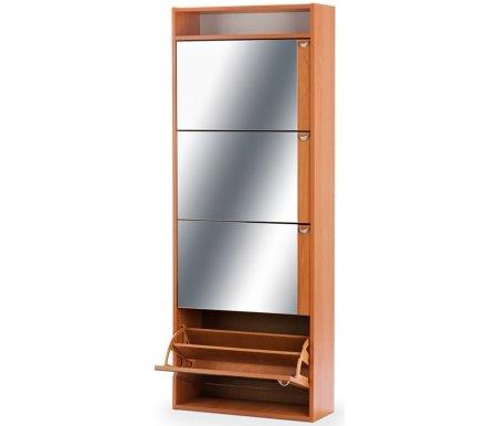Купить Обувница Вентал, Ирис 3 (зеркальная), вишня / вишня / зеркало
