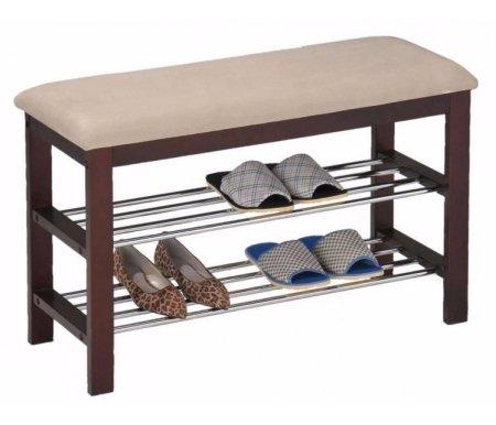 Подставка для обуви VT-SR-44Тумбы для обуви<br><br><br>Ширина: 81 см<br>Глубина: 31 см<br>Высота: 49 см<br>Материал: металл, массив гевеи<br>Цвет обивки: бежевый