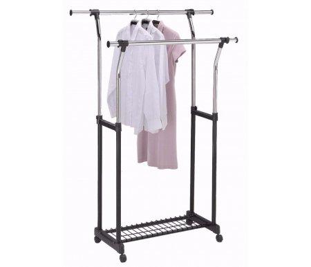 Вешалка для гардеробных VT-CH-55 (MK-2307)Вешалки гардеробные<br>Вешалка для гардеробных VT-CH-55 выдерживает вес до 20 кг.<br><br>Ширина: 86 см<br>Глубина: 51 см<br>Высота: от 104 см до 167 см<br>Материал: металл, пластик<br>Цвет: хром, черный