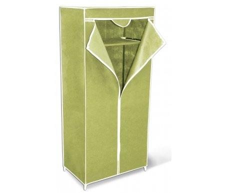 Вешалка-гардероб с чехлом SHT-WR2012 зеленаяВешалки гардеробные<br>Каркас стойки выполнен из металлических трубок и пластиковых соединительных крепежей. Вешалка имеет чехол из плотной ткани зеленого цвета. Промежуточная полка изготовлена из плотного нетканого материала. Под полкой предусмотрена металлическая штанга для вешалок. <br>Максимальная нагрузка на полку: 3 кг.<br> <br>Максимальная нагрузка на вешалку: 13 кг.<br>