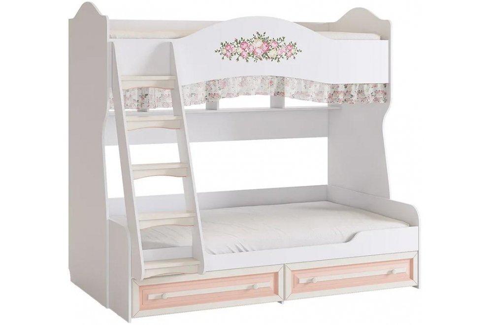 Кровать Алиса двухъярусная 80 х 190 белый / крем