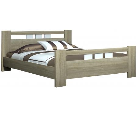 Купить Двуспальная кровать НК мебель, Каллисто 160х200 см дуб сонома / белый глянец