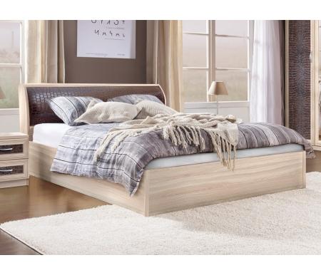 Купить Двуспальная кровать Диал, Кэт — 1 Caiman арт.033 с ПМ 160х200 см ясень светлый / caiman коричневый