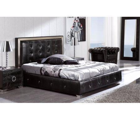 Кровать Coco 624 чернаяДвуспальные кровати<br>Кровать 624 Coco (Коко) - широкая двуспальная кровать от фабрики Dupen (Испания).<br> <br>Высокое мягкое изголовье обито экокожей, боковая отделка по периметру кровати - экокожа. Кровать отделана стразами.<br> <br><br>  <br><br> <br>В наличии имеются подобные кровати белого цвета.<br>