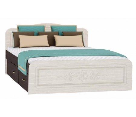 Кровать двуспальная Фиеста-М КР-504 160x200 венге / дуб беленыйДвуспальные кровати<br><br>