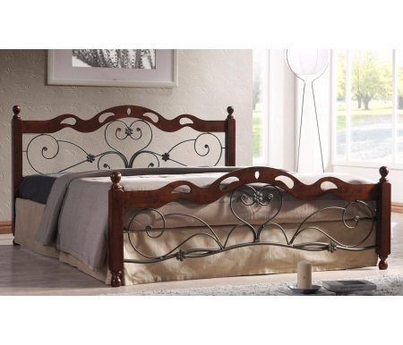 Кровать двуспальная Хелен (Helen) (180*200)Двуспальные кровати<br>Элегантная кровать с кованными элементами на изголовье и изножье.<br> <br>Боковые стойки и верхние края изголовья и изножья выполнены из массива натурального дерева.<br> <br>Царги сделаны из металла.<br> <br>Фигурная ковка и оригинальный дизайн позволят легко вписать изделие в интерьер любой спальни.<br>