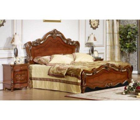 Кровать двуспальная Виктория 3136 темный орехДвуспальные кровати<br>Кровать 3136 с мягкой высокой спинкой выполнена изысканном стиле, который создает ощущение безупречной легкости и элегантности.<br> <br>Стеганные элементы обивки и декор под резьбу в сочетании с великолепным качеством исполнения придают данной модели истинную аристократичность. <br>  <br>Материал обивки: искусственная кожа.<br>