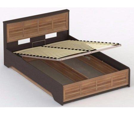 Кровать СОЛО 043 140 x 200 венге / сливаПолуторные кровати<br>Кровать СОЛО 043 выполнена из высококачественной ламинированной ДСП, относящейся к самой экологичной группе. Кровать оснащена подъемным механизмом, который открывает доступ к глубокому бельевому ящику.<br>