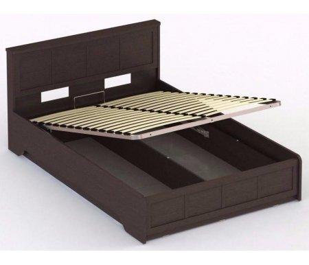 Кровать СОЛО 043 140 x 200 венгеПолуторные кровати<br>Кровать СОЛО 043 выполнена из высококачественной ламинированной ДСП, относящейся к самой экологичной группе. Кровать оснащена подъемным механизмом, который открывает доступ к глубокому бельевому ящику.<br>