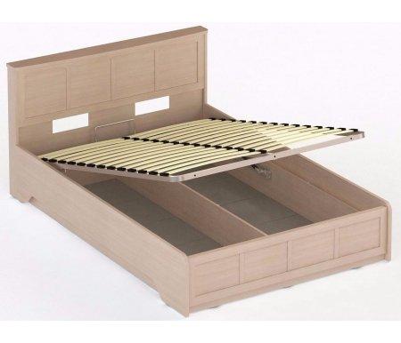 Кровать СОЛО 044 160 x 200 дуб молочный / дуб молочныйДвуспальные кровати<br>Кровать СОЛО 044 выполнена из высококачественной ламинированной ДСП, относящейся к самой экологичной группе. Кровать оснащена подъемным механизмом, который открывает доступ к глубокому бельевому ящику.<br>