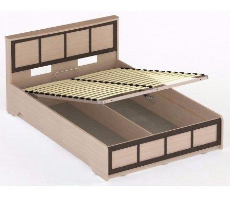 Кровать СОЛО 044 160x200 дуб молочный / венгеДвуспальные кровати<br>Кровать СОЛО 044 выполнена из высококачественной ламинированной ДСП, относящейся к самой экологичной группе. Кровать оснащена подъемным механизмом, который открывает доступ к глубокому бельевому ящику.<br>
