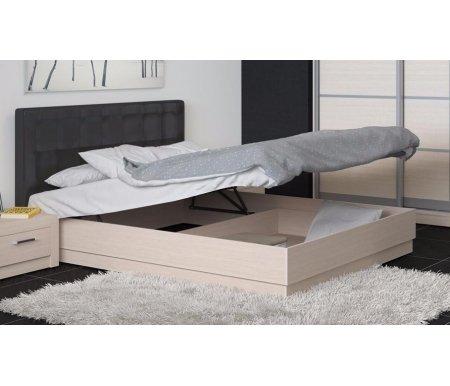 Кровать Токио с мягкой спинкой и ПМ СМ-131.12.002 160х200 дуб белфорт / темная кожаДвуспальные кровати<br><br>