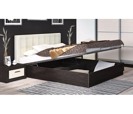 Здесь можно купить Токио с мягкой спинкой и подъемным механизмом СМ-131.12.002 160 см х 200 см венге цаво / светлая кожа  Кровать Трия Двуспальные кровати