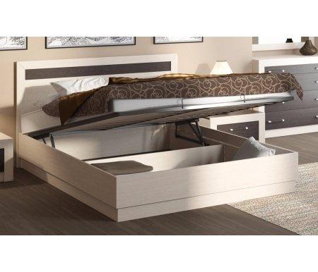 Кровать Токио с ПМ СМ-131.12.001 160x200 дуб белфорт / дуб белфорт / венге цавоДвуспальные кровати<br><br>