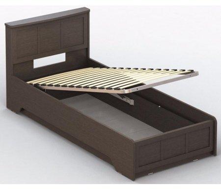 Кровать СОЛО 042 90 см x 200 см венгеОдноспальные кровати<br>Кровать СОЛО 042 односпальная имеет глубокий бельевой ящик и подъемный механизм. Модель СОЛО 042 выполнена из ламинированной ДСП - это экологичный и современный материал, который обеспечивает долговечность в использовании. Кровать поставляется в разобранном виде (7 упаковок).<br>