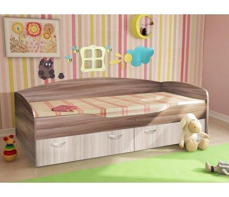 Купить Односпальная кровать Диал, Бриз 2 ЛДСП ясень светлый / ясень темный