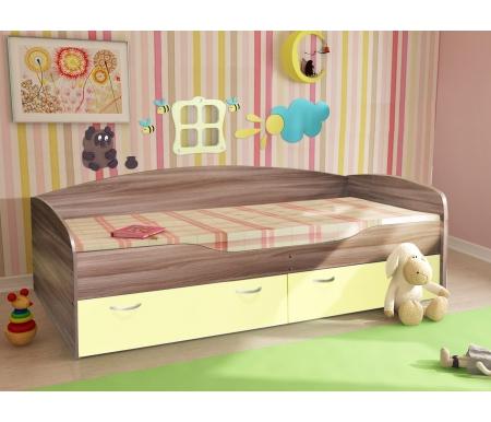 Купить Односпальная кровать Диал, Бриз 2 ЛДСП ясень темный / ваниль