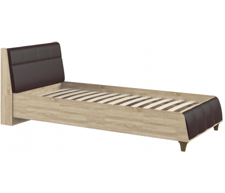 Купить Односпальная кровать Моби, Келли 90х200 см с ПМ дуб сонома / темно-коричневая