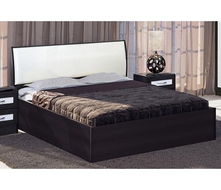 Купить Двуспальная кровать Диал, Кэт — 1 Caiman арт.033 с ПМ 160х200 см венге / caiman белый
