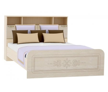Кровать Фиеста-М КР-505 с прикроватным блоком 140 см х 200 см перламутровый глянецПолуторные кровати<br>Материал основания: фанерный настил.<br>
