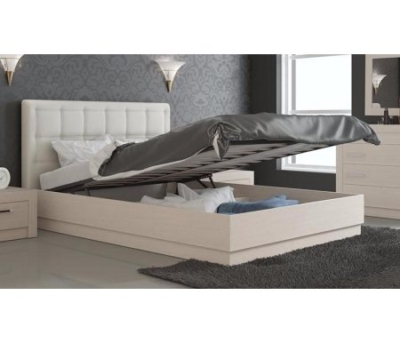 Кровать Токио с мягкой спинкой и подъемным механизмом СМ-131.13.002 140 см х 200 см дуб белфорт / светлая кожаПолуторные кровати<br>Максимальная нагрузка 180 кг.<br>