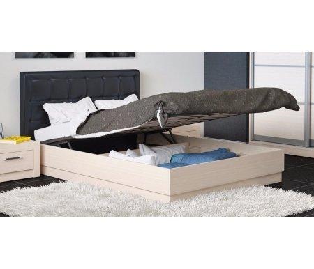 Кровать Токио с мягкой спинкой и подъемным механизмом СМ-131.13.002 140 x 200 см дуб белфорт / темная кожаПолуторные кровати<br>Максимальная нагрузка 180 кг.<br>