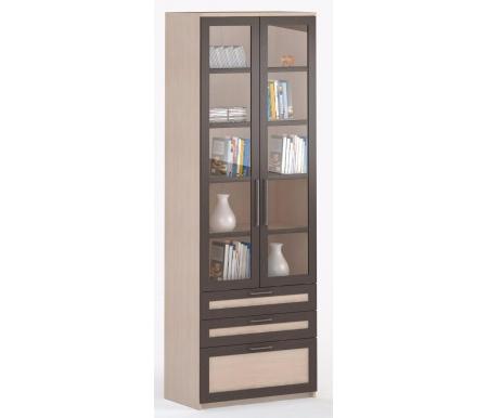 Шкаф 2-дверный с ящиками СОЛО-054 стекло молочный дуб / венге / молочный дубШкафы<br><br>