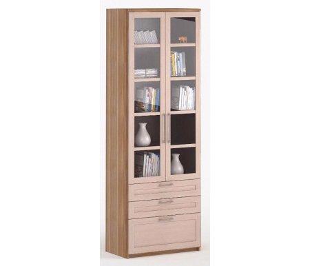 Шкаф 2-дверный с ящиками СОЛО-054 стекло слива / молочный дубШкафы<br><br>