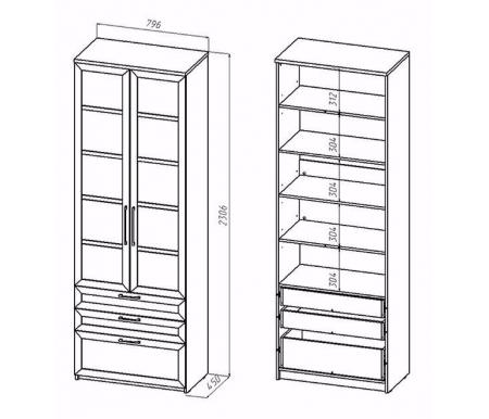 Шкаф 2-дверный с ящиками СОЛО-054 стекло венге / венге от ЛайфМебель