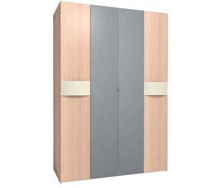 Шкаф четырехдверный Амели 555 дуб беленыйШкафы<br>На фасаде двух боковых дверей имеется гнутая ручка, обтянутая винилкожей цвета топленого молока. Две створки в середине зеркальные. Внутри находятся полки, две штанги для вешалок. Полку, разделяющую штанги можно перевешивать. Имеется возможность менять местами створки, компануя зеркала и двери, как вам удобно..<br>