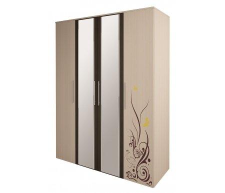 Шкаф четырехдверный для одежды Марианна 5 с зеркаломШкафы<br>На фасаде двери имеется декоративный рисунок. Зеркала имеют окантовку цвета дуб венге.<br> <br>  Есть возможность приобрести к этому шкафу дополнительно тумбу для белья.<br>