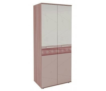Шкаф двухдверный Розали 96.11Шкафы<br>Шкаф изготовлен из ЛДСП (толщина 22 мм) и МДФ (16 мм). Торцы укреплены кромкой ПВХ (2 мм и 0,4 мм). Фасады украшены стеклянными вставками с рисунком и сложной фрезеровкой.<br> <br>Поставляется в разобранном виде (2 упаковки).<br><br>Цвет: Ясень Шимо темный / Крем-брюле глянец / Мокко глянец