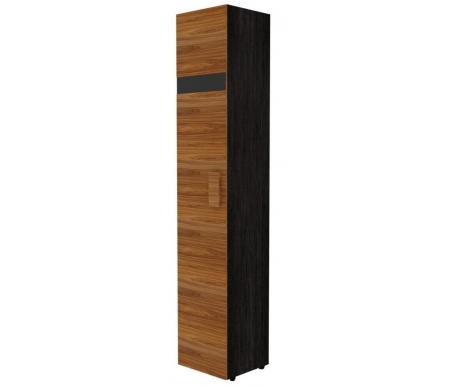 Шкаф однодверный для белья Hyper с глубиной 38,9 см левый палисандрШкафы<br>Шкаф имеет декоративную полосу из черного стекла на фасаде двери. Ножки выполнены из пластика.<br>