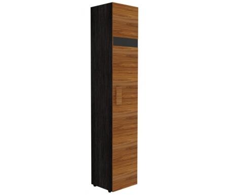 Шкаф однодверный для белья Hyper с глубиной 38,9 см правый палисандрШкафы<br>Шкаф имеет декоративную полосу из черного стекла на фасаде двери. Ножки выполнены из пластика.<br>