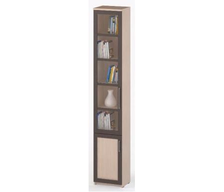 Шкаф-пенал книжный СОЛО-038 стекло молочный дуб / венге / молочный дубШкафы<br><br>