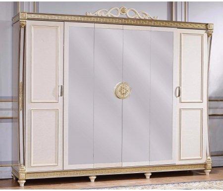 Шкаф шестидверный Джанни 3253Шкафы<br>Роскошный шестидверный шкаф с зеркалами послужит приятным дополнением для спальни. <br> <br>  Декоративные элементы выполнены из полипропилена.<br>Материал: МДФ покрытый шпоном.<br>
