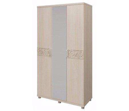 Шкаф трехдверный Ирис 9 дуб бодегаШкафы<br>Шкаф имеет объемный рисунок на фасадах дверей и декорирован аккуратными ручками со стразами.<br>