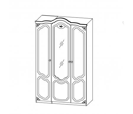 Шкаф трехдверный Орхидея СП-002-13 белый полуглянецШкафы<br>Трехдверный шкаф Орхидея станет настоящей находкой для любителей классического стиля. <br>Вместительный шкаф не выглядит громоздко.   <br>   <br>    Художественное оформление в виде элементов глубокой фрезеровки с эффектом старения является особенностью мебели Орхидея.<br>   <br>    С внутренней стороны шкафа предусмотрены крепления для зеркала.<br>   <br>     <br>      <br>     <br>   <br> <br>   <br>    Материал фасада: МДФ-16 Kronospan Szczecinek (Польша) / ПВХ Alfaterm (Италия), Renolit (Германия).<br>   <br>    Материал корпуса: ДСП-16 Kronospan Szczecinek (Польша).<br>   <br>    Материал фурнитуры и роликовых направляющих: GTV (Польша), Hettich (Германия).<br><br>Цвет: Черешня