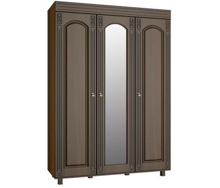 Шкаф трехстворчатый с зеркалом Элизабет ЭМ-18 орех темныйШкафы<br><br>