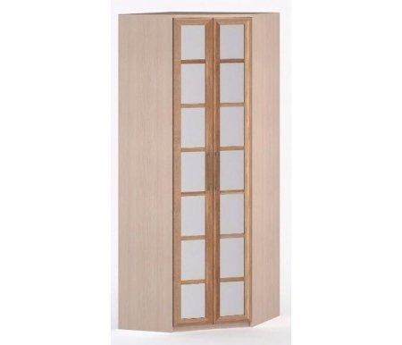 Шкаф угловой 45-45 Соло-036 с зеркалом молочный дуб / сливаШкафы<br><br>