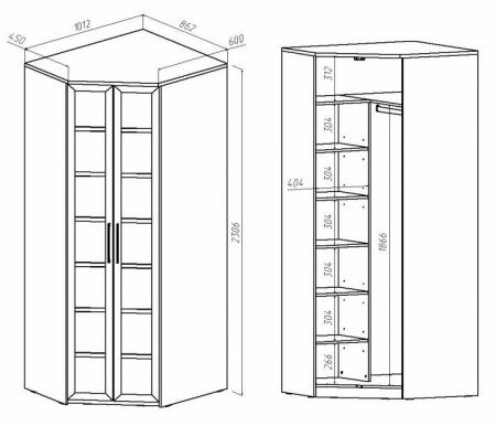 Схемы угловых шкафов с размерами