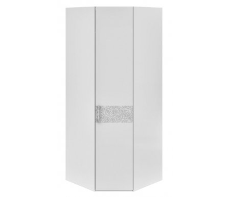 Шкаф угловой с одной дверью Амели 193.07.006 правыйШкафы<br>Шкаф угловой с одной дверью Амели цвета белый глянец, декорирован цветочным орнаментом. <br>Металлические ручки инкрустированы стразами.<br> <br>Оснащен шестью полками и штангой.<br>