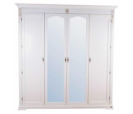 Шкаф Валенсия C05 четырехдверный с зеркалом белый Мик
